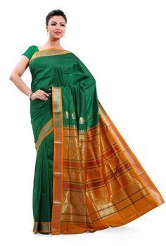 Saree Market: Pure Mysore Silk Sarees Green Colour