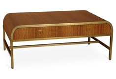 """St. Croix 49"""" Cocktail Table, Brown/Gold"""