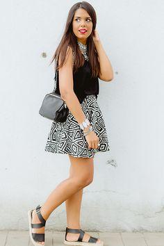 Forever 21 Black Espadrilles, Zara Aztec Print Skirt, Forever 21 Silver Tribal Necklace
