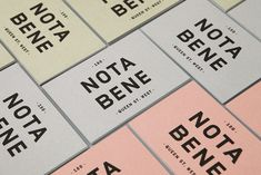 Logotype, stationery, business cards, packaging and website by graphic design studio Blok for Toronto restaurant Nota Bene. Opinion by Richard Baird. Identity Design, Visual Identity, Brand Identity, Business Card Design, Business Cards, Stationery Business, Web Design, Print Design, Label Design