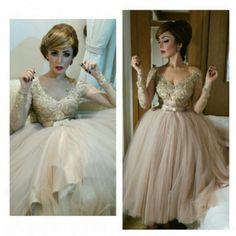 Elegant Lace Tulle Prom Dress,Sexy V-Neck See Through Evening Dress, Long Sleeves Beading Prom Gown