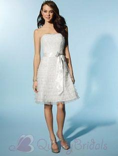 Short Sash Net Satin Cocktail length Destination Wedding Dress W1500 $207.19