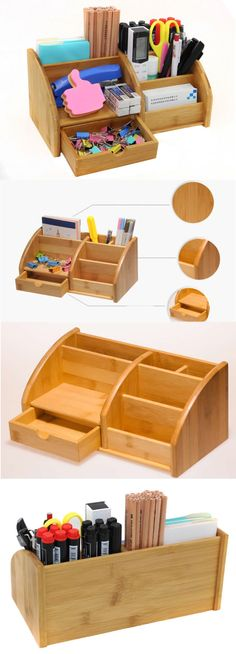Desk organization office pen holders ideas for 2019 Diy Dorm Decor, Home Decor Hacks, Wooden Desk Organizer, Cool Office Supplies, Bamboo Box, Pen Storage, Mobile Holder, Business Card Holders, Desk Organization
