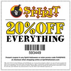 heres a terrifyingly terrific treat for spirit halloween fans valid today only in store or - Spirit Halloween 50 Off Coupon