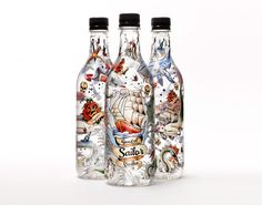 Good ol' Sailor Vodka ~ Swedish Good ol 'Sailor Vodka is made from organically grown barley & the bottle is nicely decorated with classic sailor tattoos The tattoos are made of Aniela from Flash Fighters.