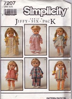 Simplicity Pattern Clothes for 13 to 15 Inch Doll Abbies Jiffy Six Pack Uncut #Simplicity