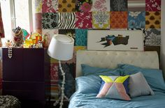 Create a patchwork feature wall using wall paper samples