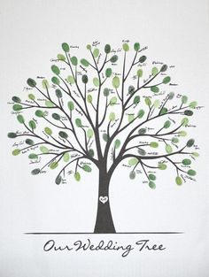 Wedding thumbprint tree instead of a guest book - would love to see it personalized with names! Wedding Tree Guest Book, Guest Book Tree, Tree Wedding, Our Wedding, Wedding Book, Fall Wedding, Wedding Ideas, Perfect Wedding, Wedding Photos