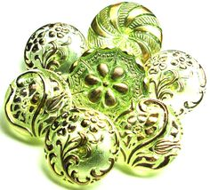 vintage buttons green