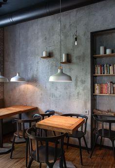 I Feel espresso bar, Kryvyi Rih, 2015 - Azovskiy Pahomova architects Vintage Cafe Design, Café Design, Design Ideas, Industrial Cafe, Industrial Farmhouse, Industrial Stairs, Industrial Apartment, Industrial Style, Bistro Set