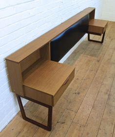 Vintage Europa Teak Double to Kingsize Headboard with Bedside Tables 1960s Retro