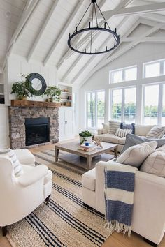 31 Awesome Modern Farmhouse Living Room Decor Ideas And Makeover. If you are looking for Modern Farmhouse Living Room Decor Ideas And Makeover, You come to the right place. Below are the Modern Farmh. Blue And White Living Room, Simple Living Room, Coastal Living Rooms, My Living Room, Living Room Interior, Modern Living, Cozy Living, Living Room With Windows, Wall Of Windows