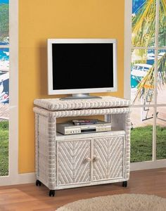 Frame is made of kiln dried solid wood products Top swivels Includes castors Equipment opening size x 15 x 6 H Item shown in White Wash finish. Also available in Antique Honey and White finishes Dimensions: W x D x H SKU: Low Tv Stand, Rattan, Wicker, Weaving Patterns, Product Offering, Solid Wood, Indoor, Sea, Bedroom