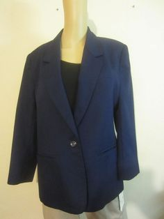 Worthington Blazer Dark Blue Button Down Long Sleeve Jacket  #116 #Worthington #BasicJacket