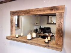 Rustic Bathroom Mirrors, Bathroom Mirror With Shelf, Farmhouse Mirrors, Diy Mirror, Rustic Farmhouse, Beach Mirror, Reclaimed Wood Mirror, Driftwood Mirror, Wood Framed Mirror