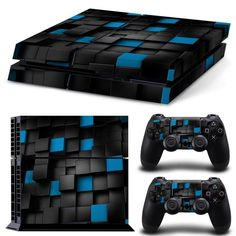 Xbox One X Skin Design Foils Sticker Screen Protector Set Blue Skull Motif Factories And Mines Faceplates, Decals & Stickers