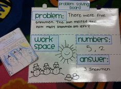 Problem Solving Board for Math Journals