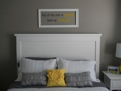 Cute on all levels.  And the headboard was made for less than fifty bucks!?:
