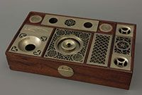 the main tray from the travel box with in the centre the opium lamp, China, 1880-1900