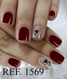 Red nails with beige ring finger and flower #neutralnailswithaccentdesign