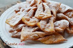 """""""Faworki"""" or """"Angel Wings"""" basically Polish Version of Doughnuts Slovak Recipes, Lithuanian Recipes, Ukrainian Recipes, Hungarian Recipes, Russian Recipes, Polish Desserts, Polish Recipes, Polish Food, Polish Cookies"""