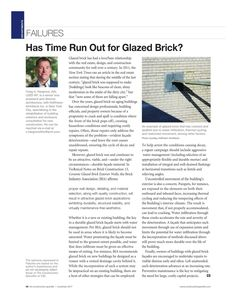 Has Time Run Out for Glazed Brick? - Craig A. Hargrove, AIA, LEED AP - The Construction Specifier, November 2017 Masonry Construction, Glazed Brick, Brick Masonry, Time Running Out, Falling Apart, November, Articles, Design, November Born