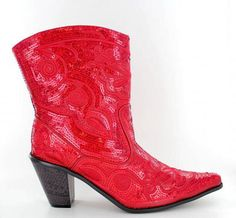 2f4262507a8 Boots Western Sequin Bling Red Size 7 New Helen s Heart Low Ankle Boot