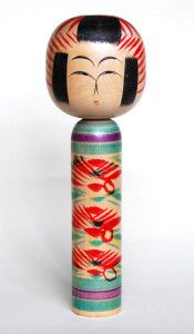 Togatta kokeshi doll, in Akiu subgenre, by Sugawara Satoshi