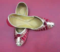 Red Majenta Color Women's Flat Shoes Indian Flat by BeautyShop21