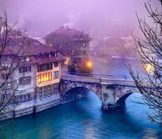 Bern, Switzerland at dusk. A city of enchantment.