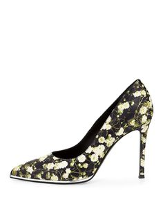 Floral-Print Leather Pump, Baby's Breath