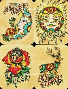 Folk art postcards mexican loteria tattoo art - set of 8 designs. Trendy Tattoos, Cute Tattoos, Body Art Tattoos, Tattoo Art, Chicano Tattoos, Inca Tattoo, Moon Tattoos, Tattoo Pics, Color Tattoo