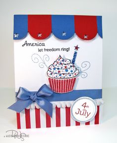 Love The Pom Trim With Ribbon And Stripes Happy Fourth Of July