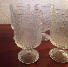 Tree-Bark-Vintage-Glass-Ware-4-Goblets-Glassware-Indiana-Glass-Tumblers