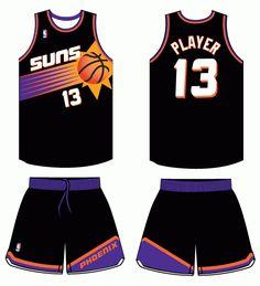 Phoenix Suns Alternate Logo on Chris Creamer's Sports Logos Page - SportsLogos. A virtual museum of sports logos, uniforms and historical items. Basketball Uniforms, Basketball Jersey, Basketball Players, Sports Jersey Design, Nba League, Uniform Design, Phoenix Suns, Basketball Leagues, Nba Players