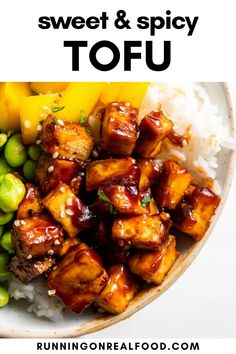 Sweet, sticky and spicy maple sriracha tofu! You will love the flavour of this highly addictive sauce. Easy to make and amazing served over a bowl of your favourite rice. Real Food Recipes, Vegetarian Recipes, Vegan Recipes Easy, Vegan Desserts, Vegan Vegetarian, Tofu Dishes, Side Dishes, Sweet And Spicy, How To Press Tofu
