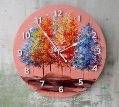 Acrylic art Trees abstract Wall Clock- wood wall clock Trees acrylic- Acrylic painting wall decor- U Wall Clock Painting, Clock Art, Diy Clock, Handmade Wall Clocks, Unique Wall Clocks, Unique Wall Decor, Wooden Decor, Wooden Walls, Floral Wall Art