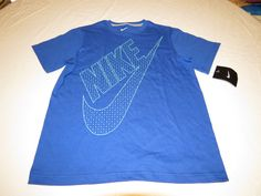 Boys Youth Nike M T shirt dots Swoosh NEW NWT 811734 blue 493 logo active #Nike