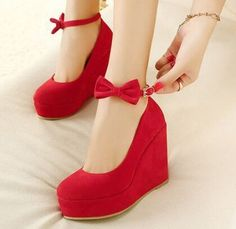 Size 4~8 Sweet Bowtie Red High Heel Women Shoes 2015 Wedges Wedding Shoes Pumps zapatos mujer