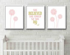 She believed she could so she did print, Home office, Graduation, Workspace, Motivational quote, pink and gold bedroom, girl empowerment #positivity #girlsdecor