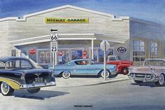 Midway Garage Auto Store Jack Schmitt Retro Automotive Metal Classic Sign