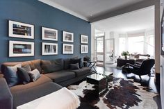 Is So Fascinating About Grey and Blue Living Room Decor Colour Schemes Couch? Living Room Color Schemes, Paint Colors For Living Room, Living Room Grey, Room Colors, Home Living Room, Living Room Designs, Apartment Living, Denim Drift Living Room, Cow Hide Rug Living Room