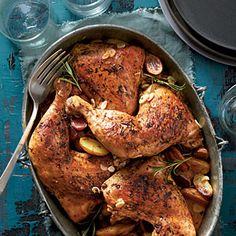 Rosemary-Garlic Chicken Quarters | MyRecipes.com
