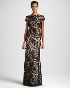 Scalloped Off-the-Shoulder Gown by Tadashi Shoji at Neiman Marcus.