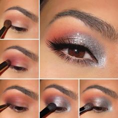 Piękny, błyszczący makijaż w odcieniu szarości i srebra - Instrukcja...