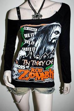 070d32e192d22 Rob Zombie Metal Rock DIY RawEdge Off Shoulder Top