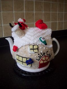 Knitted Tea Cosy Cozy Cosie Christmas Cottage with by rosiecosie, £14.99