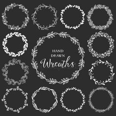 Illustration of Vintage set of hand drawn rustic wreaths. Floral vector graphic on blackboard. vector art, clipart and stock vectors. Free Vector Graphics, Free Vector Art, 3d Wandplatten, Wreath Drawing, Free Hand Drawing, Photo Corners, Floral, Chalkboard Art, Design Elements
