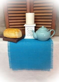 Turquoise Burlap Table Runner 12 wide w/ragged by CreativePlaces, $12.00