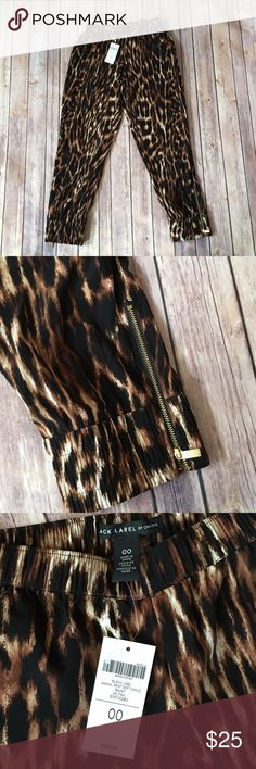 Chicos Ankle Pants NEW Chico's Black Label Size 00 Convention Size 2 Stretchy waist Animal Print Ankle Pants Gold Side Zipper Brand New With Tags Chico's Pants Ankle & Cropped
